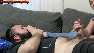 Big Edging Double Cumshot with a Foot Smothering Handjob