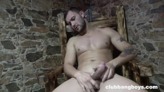 Muscle Boy tasting his own cum at the Spa