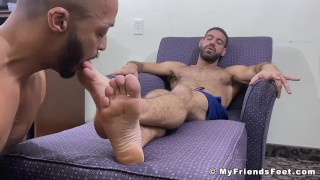 Black foot fetish gay sucking on his sexy lovers toes