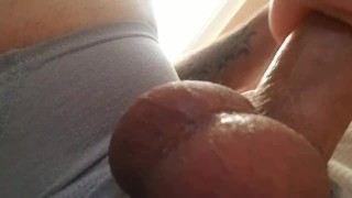 Watch these perfect balls cum deep inside with sexy moans