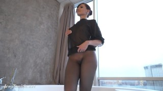 Jeny Smith in wet pantyhose on her naked body in the bathroom