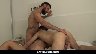 LatinLeche- Cute Latino Boys Seduce A Hairy Stud In A Steamy Threesome