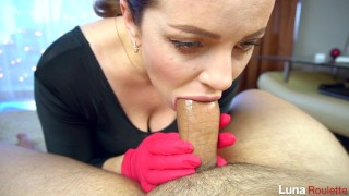 Girlfriend in gloves gives a blowjob and swallows cum / Luna Roulette