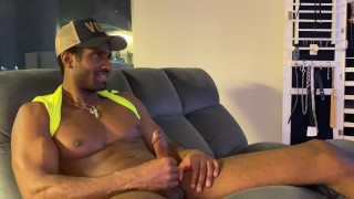 Caught my brother's friend jacking off to my porn tapes until he cums hard!