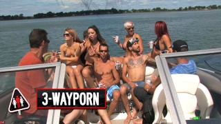 3-Way Porn - Big Boat Group Sex Party - Part 2