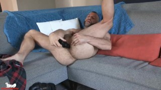 Donnie sucks this monstrous butt-plug up his ass