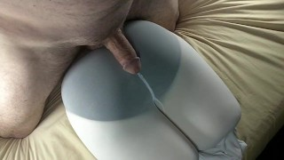Hitachi grinding and cumming on opaque white tights over black panties