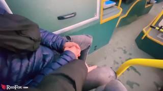 Blonde Outdoor Blowjob Cock Boyfriend in Public Transport - Oral Creampie