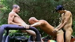 Threeway on a jeep in Robert Prion's BACKDOOR ADVANCES