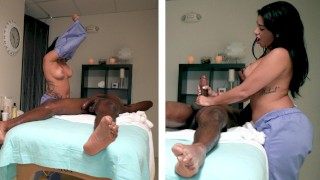 NICHE PARADE - Hung Black Guy Gets Happy Ending Massage From Big Tits Latin