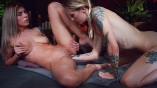 Sweet lesbian fisting ending up with massive squirt MashaYang & RoxyJoy