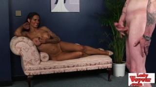 Stunning voyeur babe dominates cock