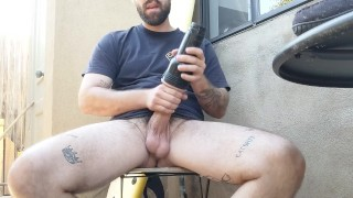 Thick dick stud smokes and fucks Fleshlight outdoors huge cumshot