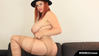 Busty redhead Alexsis Faye play and destroys Pantyhose