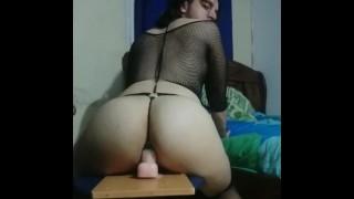 Juicy big ass riding dildo