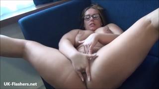 Sexy milf Ashley Riders outdoor voyeur striptease and public masturbation