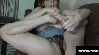 Red Penny Pax Gives Jerk Off Instructions Showing Her Feet!