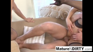 Four MILFs take turns getting fucked by five cocks!