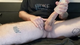 Thick dick daddy stroking and fucking Fleshlight