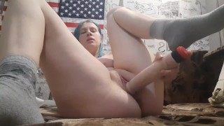 Vigorously jerking off a big dildo, orgasm and powerful squirt!
