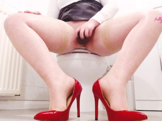 Playing With My Black Dildo In The Office Toilet In My Work Heels