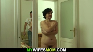 Hairy mother-in-law rides his horny cheating dick