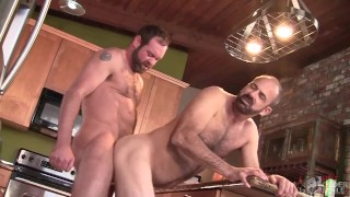 Hot and Hairy Daddies Fucking Raw in the Kitchen