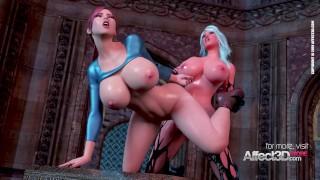 Big tits babe awakening the futanari demon in a 3d animation
