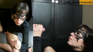 4K - MILF in sexy black outfit takes big facial while masturbating her pussy