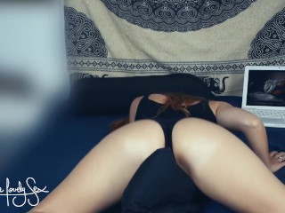 Caught humping pillow and watching LoveMyStepsisterSC Immense booty Lesbian