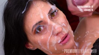 Premium Bukkake - Sherry Vine swallows 74 big mouthful cum loads