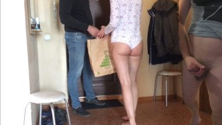 BROTHER CUCKOLD WATCHING AND JERKING, AS HIS WIFE IS CHEATING WITH THE COUR