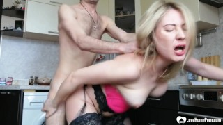 Blonde stepmom in stockings takes a hard pounding
