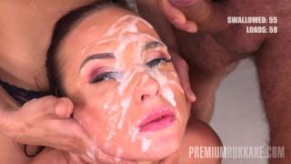 Premium Bukkake - Vinna Reed swallows 68 huge mouthful cum loads