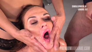 Premium Bukkake - Vinna Reed swallows 68 big mouthful cum loads