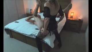 Huge cumshot in his own mouth after intense strapon pegging - MIN MOO