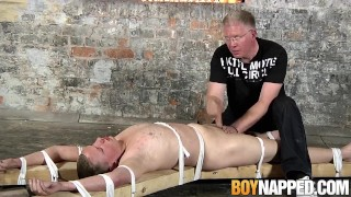 Restrained submissive man hooking up with older guy for fun