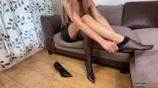 Extremely Hot Blonde Secretary Giving Footjob & Handjob With Stockings. POV