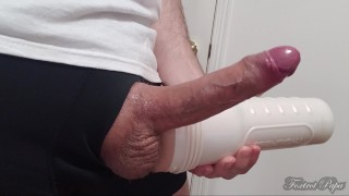 Guy with thick thighs in Boxers stroking Big Cock with Riley Reid Fleshlight - No hands Cumshot
