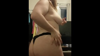 Thick red head shows her asshole & poses for camera with wooden nipple clips