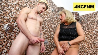 CFNM - Granny rubs Hot Jizz onto her Worn-Out pussy