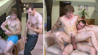 GAYWIRE - Muscular Beefcake John Mayer Taking Bareback From Caleb Moreton