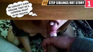 Step Sister Hiding Under Table Get Huge Accidental Oral Load while Spying on Brother Jerk Off Ep#1