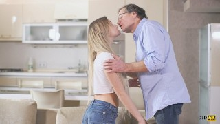 OLD4K. Sexy chick tastes old penis and gets it in sensitive pussy