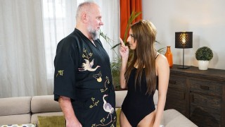 GrandpasFuckTeens This Young Babe Is Thirsty For Her Old Pervert Landlord
