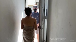 Spy cam | Milf cheating wife order anime costume and fucks Amazon delivery guy