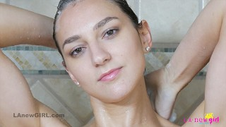 Hot brunette strips and takes sexy Shower in 4K