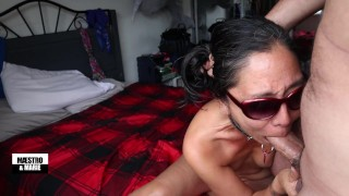 Dirty talking MILF sucks Maestro's big cock, gives him a handjob