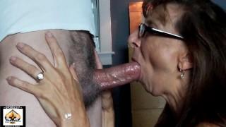 Sexy Granny Sloppy Blowjob Swallows Big Load