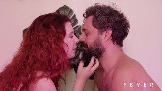 Sexy redhead fucking with fruits, vegetables and mature man - TRAILER ORGANIC